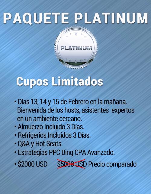 Paquete Platino bta precio enero 2020